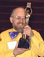 Trevor holds his Eddy award